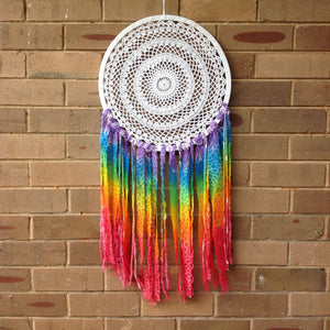 Dreamcatcher Crochet Boho Hand Dyed Rainbow 42cm