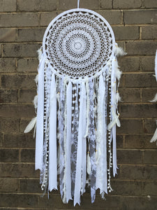 Dreamcatcher Boho Crochet White 42cm
