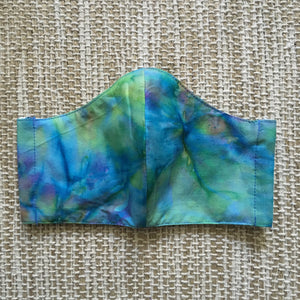 ADULT FACE MASK Triple Layer with Pocket and Nose Wire Blue Tie Dye