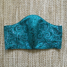 ADULT FACE MASK Triple Layer with Pocket and Nose Wire Teal Dots