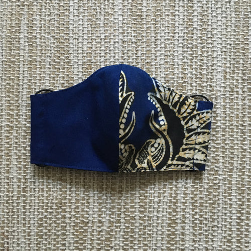 ADULT FACE MASK Triple Layer with Pocket and Nose Wire BATIK Navy/Cream/ Black