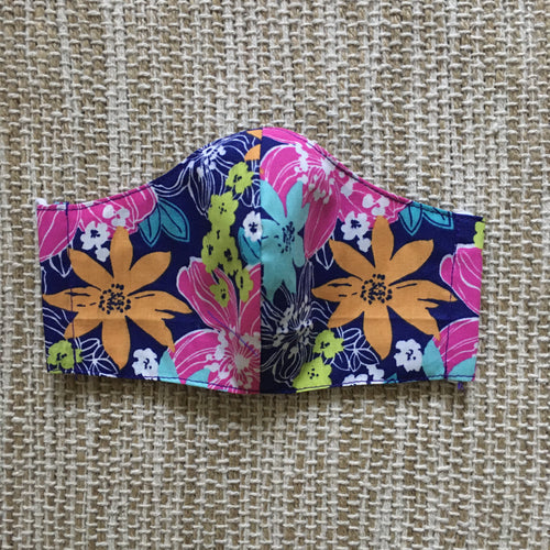 ADULT FACE MASK Triple Layer with Pocket and Nose Wire Spring Floral