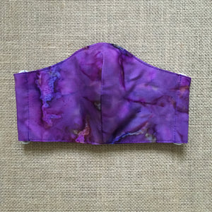 ADULT FACE MASK Triple Layer with Pocket and Nose Wire Tie Dyed Purple