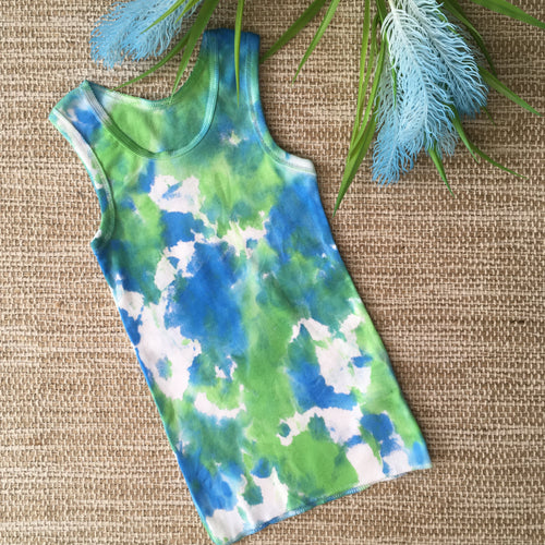Tie Dye Singlet Blue/Green/White size 1-2 years