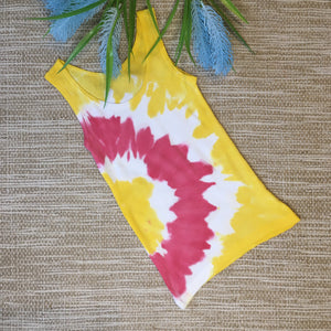 Tie Dyed Singlet Yellow/White/Red size 3-4