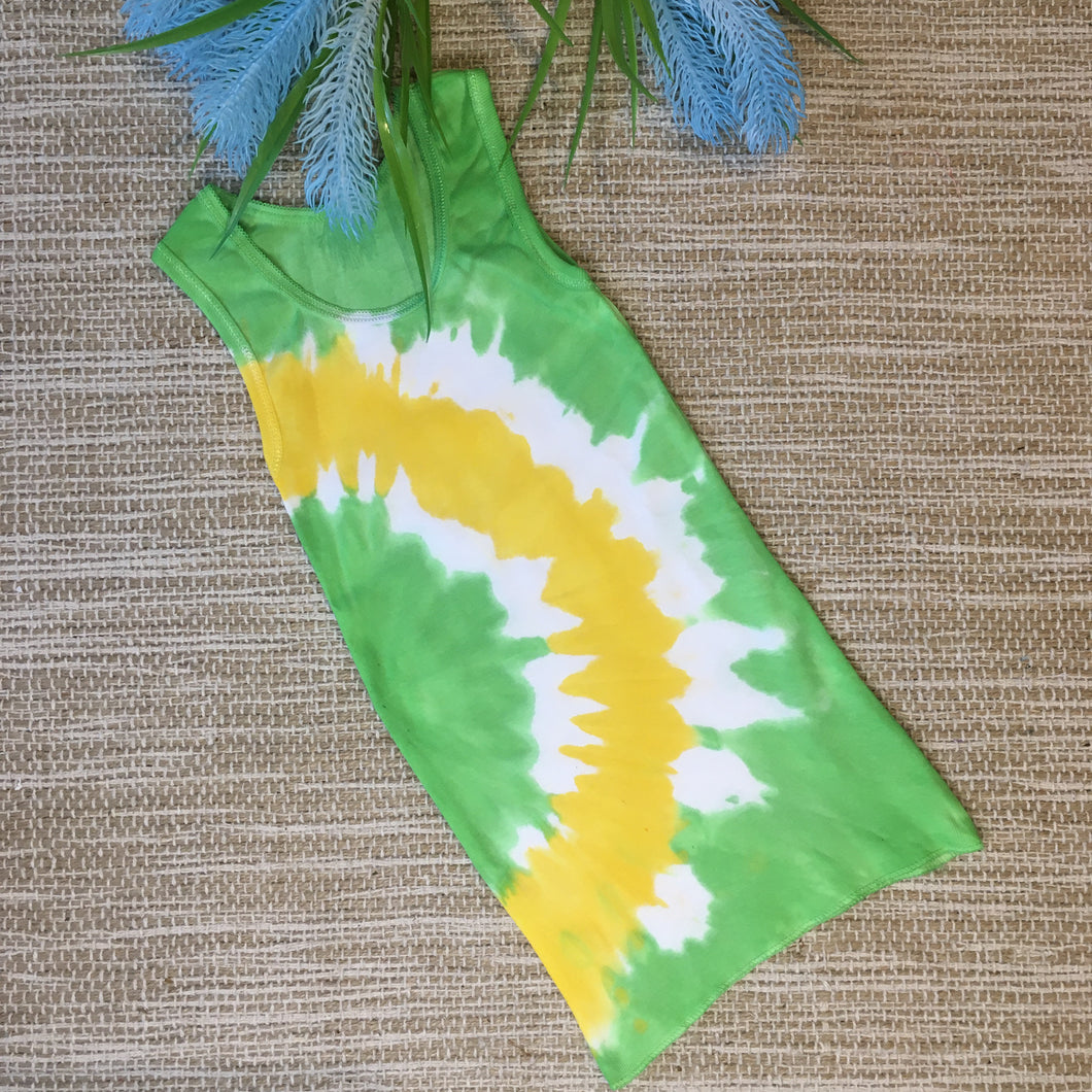 Tie Dyed Singlet Green/Yellow/White size 2