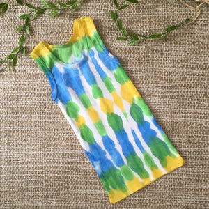 Tie Dyed Singlet Blue/Green/Yellow/White size 00-8 years