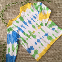 Tie Dyed T-Shirt Long Sleeve  Blue/Green/Yellow/White size 1-5