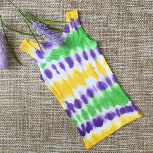 Tie Dyed Singlet Purple/Green/Yellow size 2-3