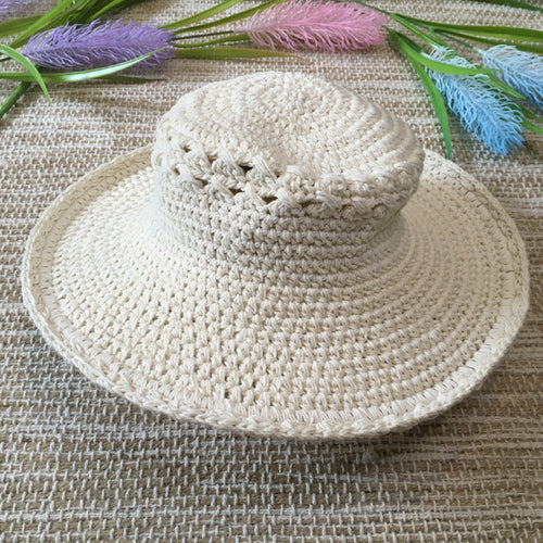 Crochet Cotton Hat Cream