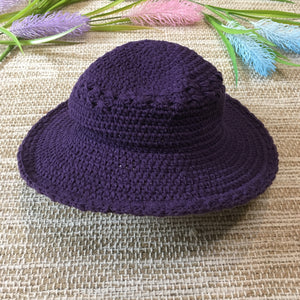 Crochet Cotton Hat Purple