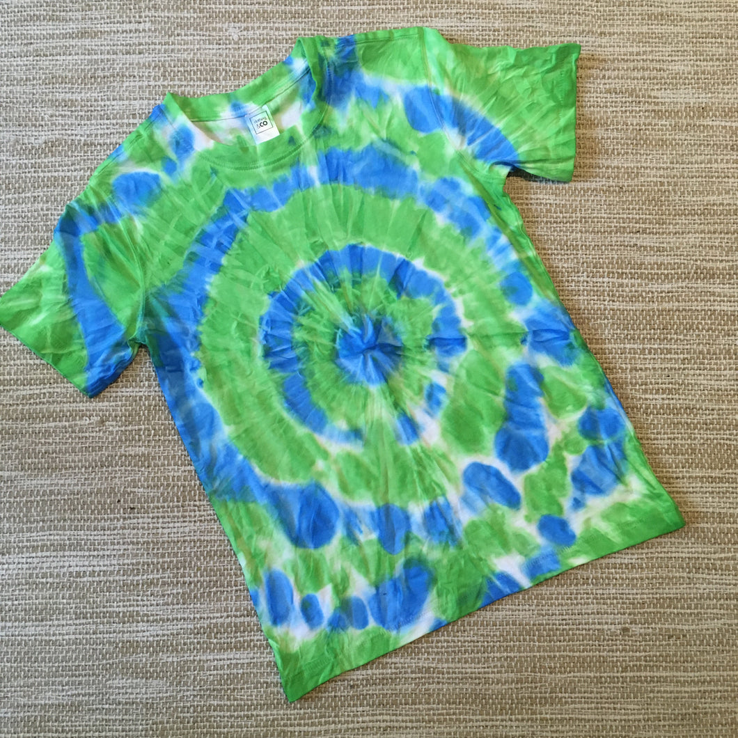 Tie Dyed T-Shirt Short Sleeve Size 10 Blue/Green