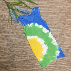 Tie Dyed Baby Singlet Blue/Green/Yellow