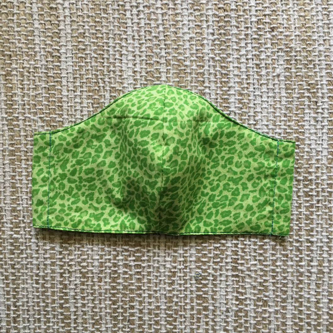 ADULT FACE MASK Triple Layer with Pocket and Nose Wire Animal Print Green