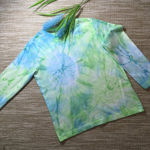 Tie Dyed T-Shirt long Sleeves Blue/Green Childs sizes 2-8