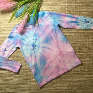 Tie Dyed T-Shirts Long Sleeves Unicorn Pink/Blue Childs sizes 2-8