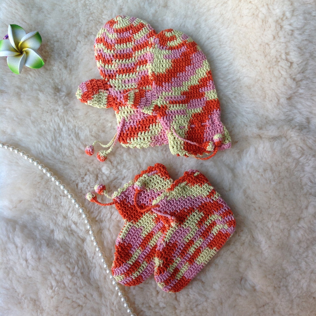 Hand Knitted 100% Cotton Booties and Mitten Set