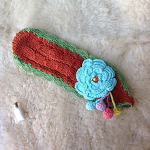 Hand Knitted Headband with Flower and Pompoms