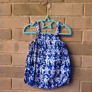 Batik Baby Romper Blue Tribal