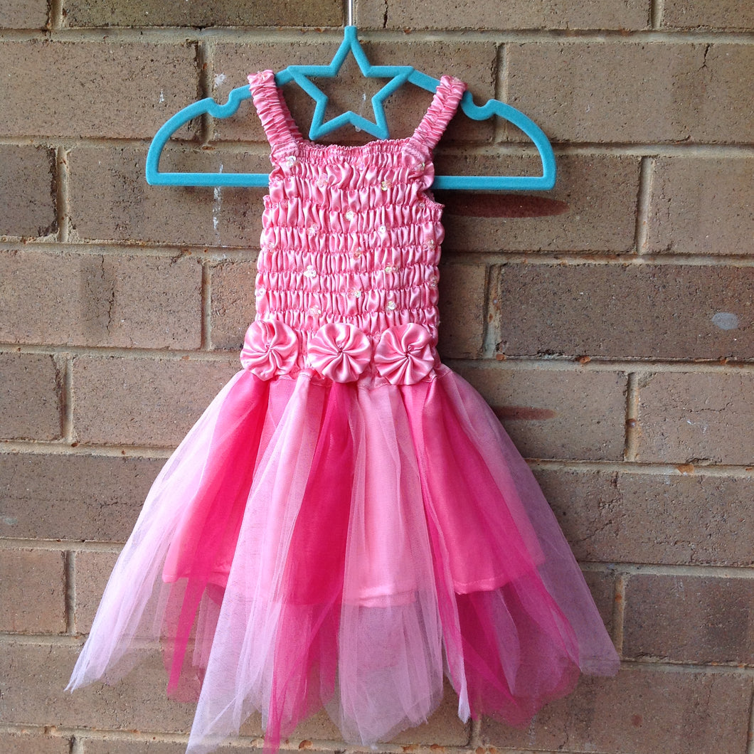 Petaled Tulle 3 Flower Fairy Dress Pink