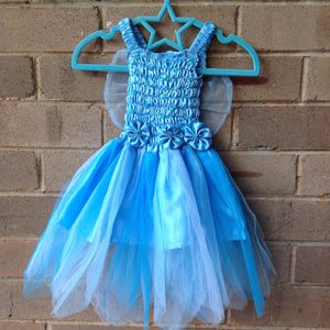 Petaled Tulle 3 Flower Fairy Dress Blue