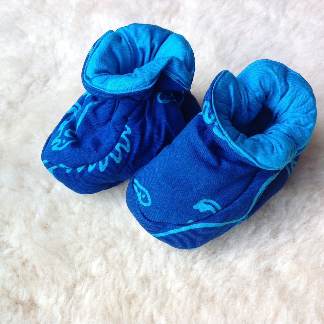 Batik Booties 100% Cotton Dark Blue and Blue Dinosaurs