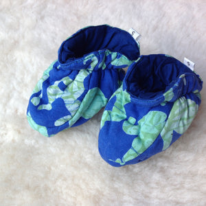 Batik Booties 100% Cotton Blue/Green with Navy Lining