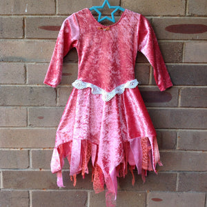 Velvet Princess Dress Long Sleeves PEACH