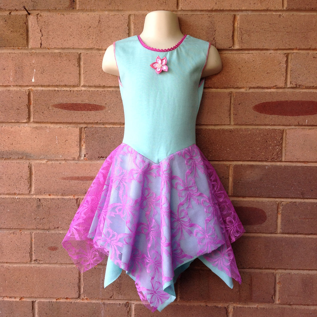 Layered Mint with Pink Lace Unicorn Fairy Dress