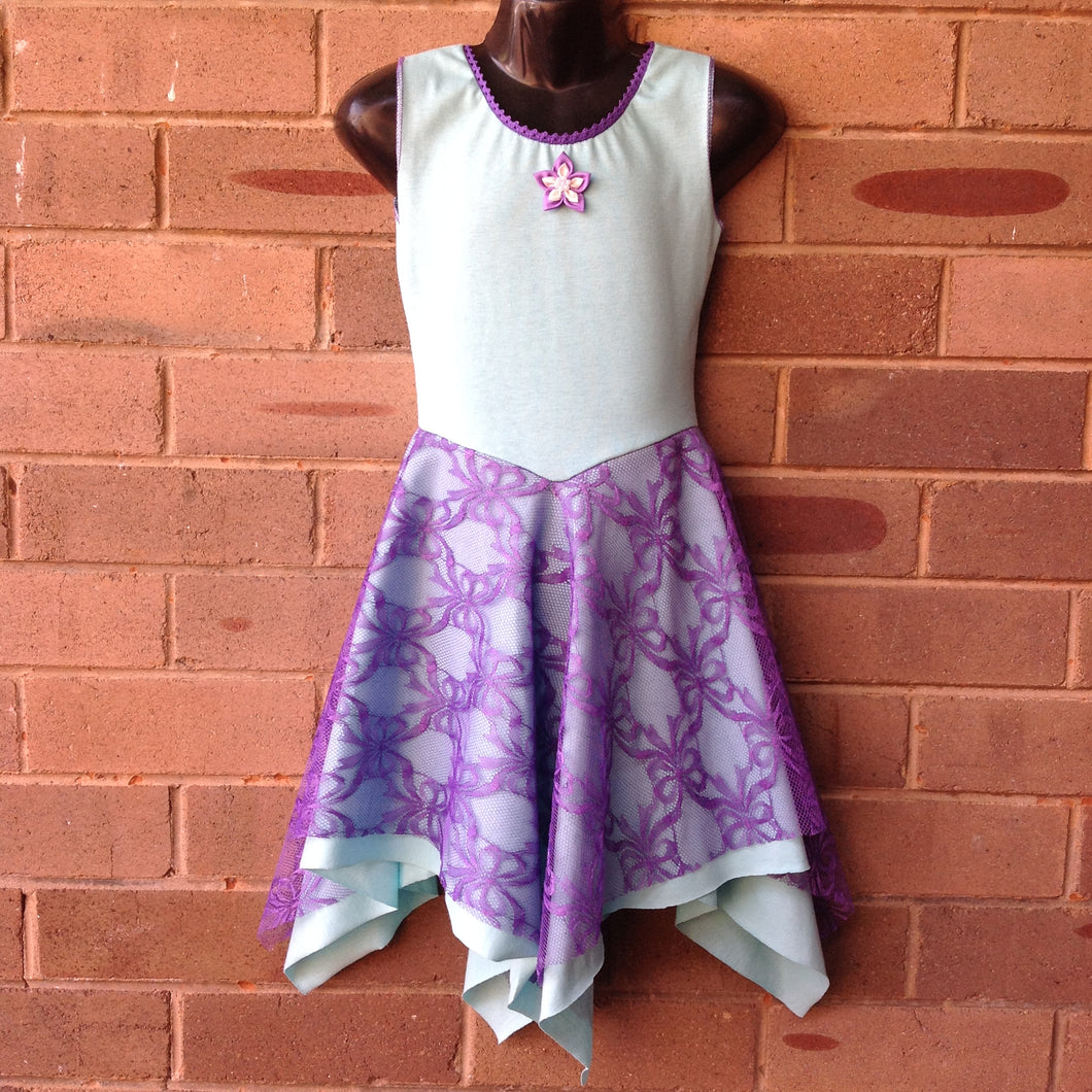 Layered Mint with Purple Lace Unicorn Fairy Dress