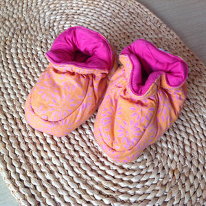 Batik Booties 100% Cotton Orange and Hot Pink