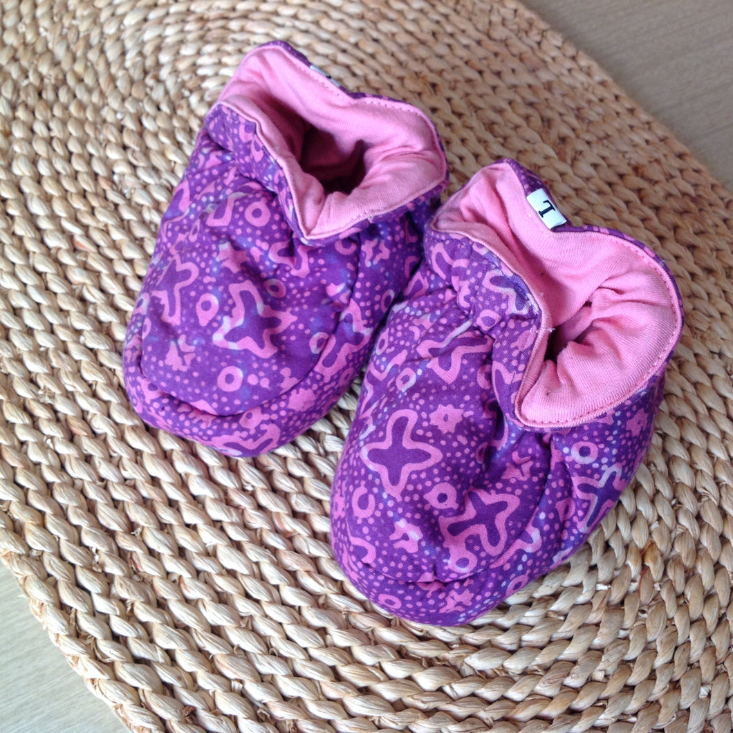 Batik Booties 100% Cotton Violet and Baby Pink