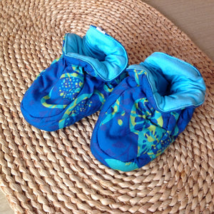 Batik Booties 100% Cotton Blue/Yellow with Aqua Lining