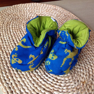 Batik Booties 100% Cotton Blue with Olive Green Geckos