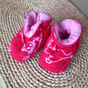 Batik Booties 100% Cotton Red and Pink