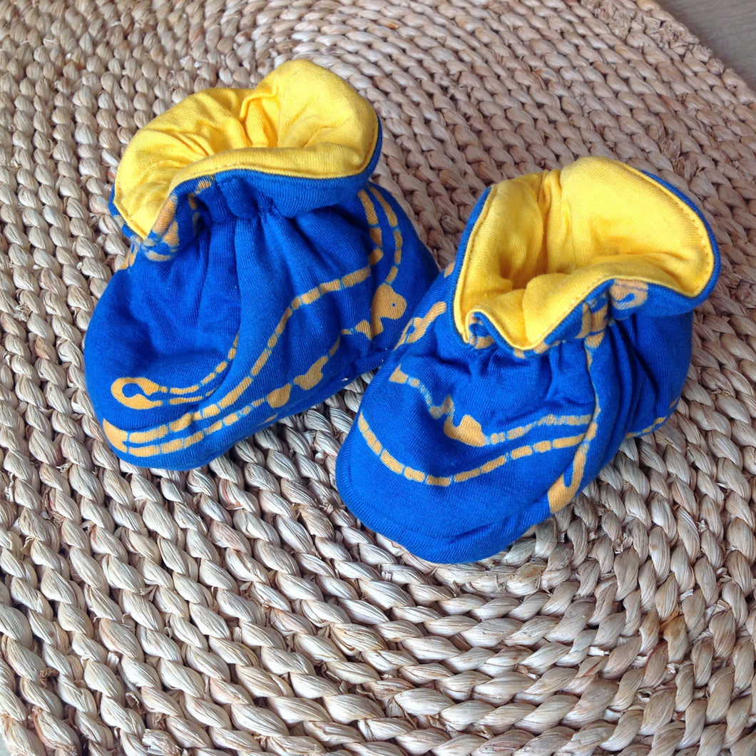 Batik Booties 100% Cotton Blue with Yellow Dinosaurs