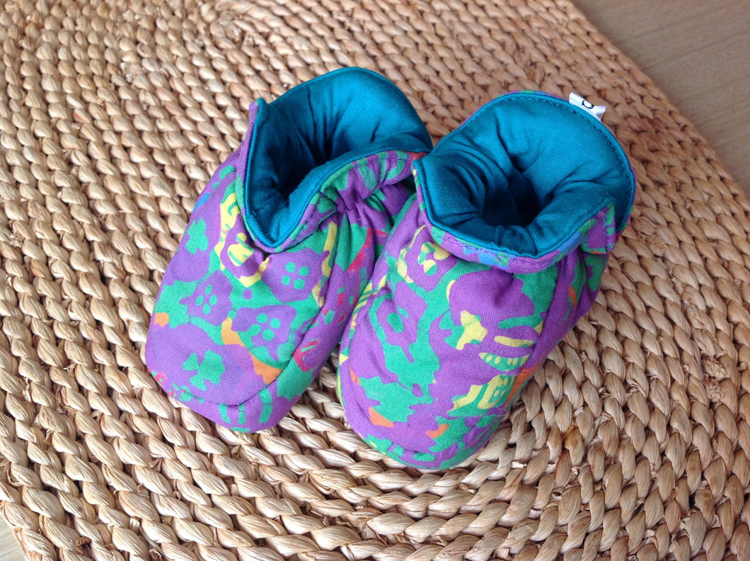 Batik Booties 100% Cotton Purple/ Green and Teal Lining