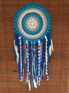 Dreamcatcher Crochet Boho Handmade Blue and White 42cm