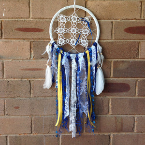 Dreamcatcher Handmade Vintage Boho Crochet Blue and Yellow 21cm