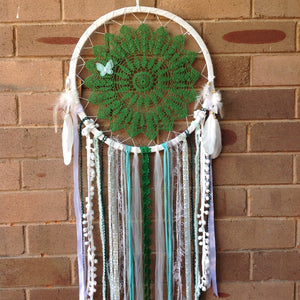 Dreamcatcher Boho Vintage Handmade Crochet Green and White 35cm