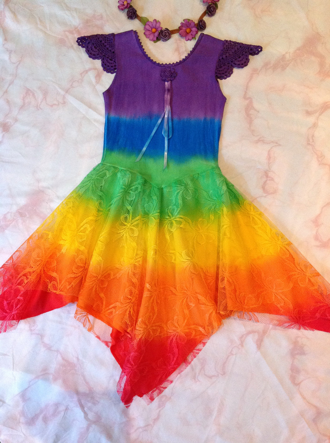 All Rainbow Princess Fairy Dress PURPLE Top Size 2-12