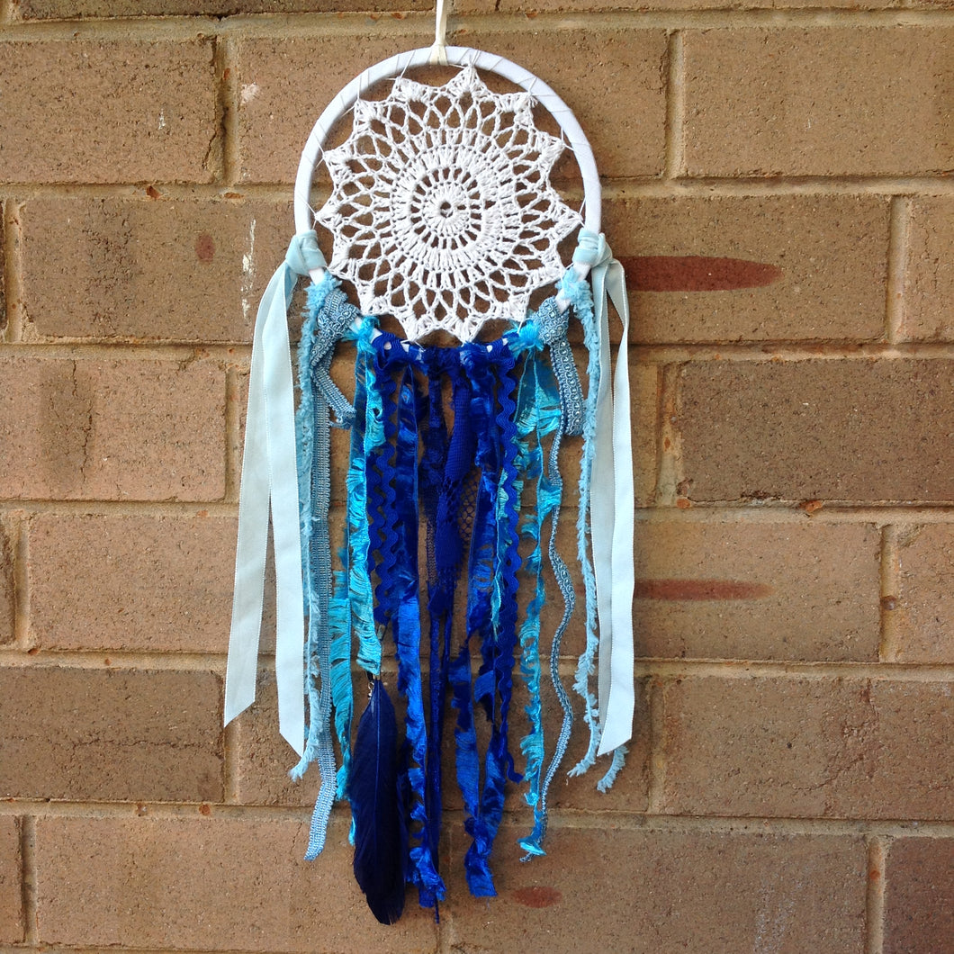 Dreamcatcher Boho Crochet Blue 16cm