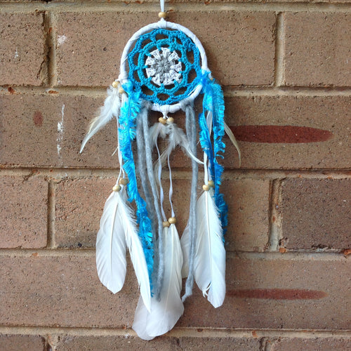 Dreamcatcher Boho Crochet Blue 9cm