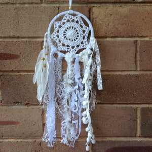 Dreamcatcher Boho Crochet White and Feathers 11cm