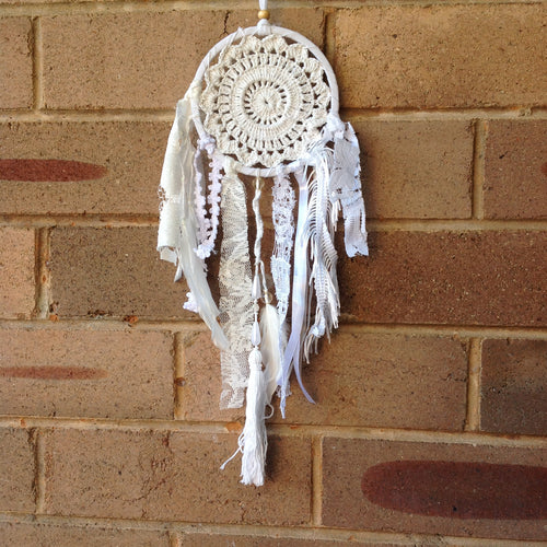 Dreamcatcher Crochet Boho White 17cm