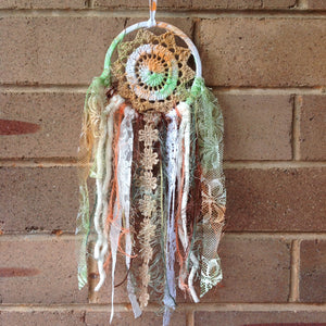 Dreamcatcher Boho Crochet Brown Hand Dyed 11cm