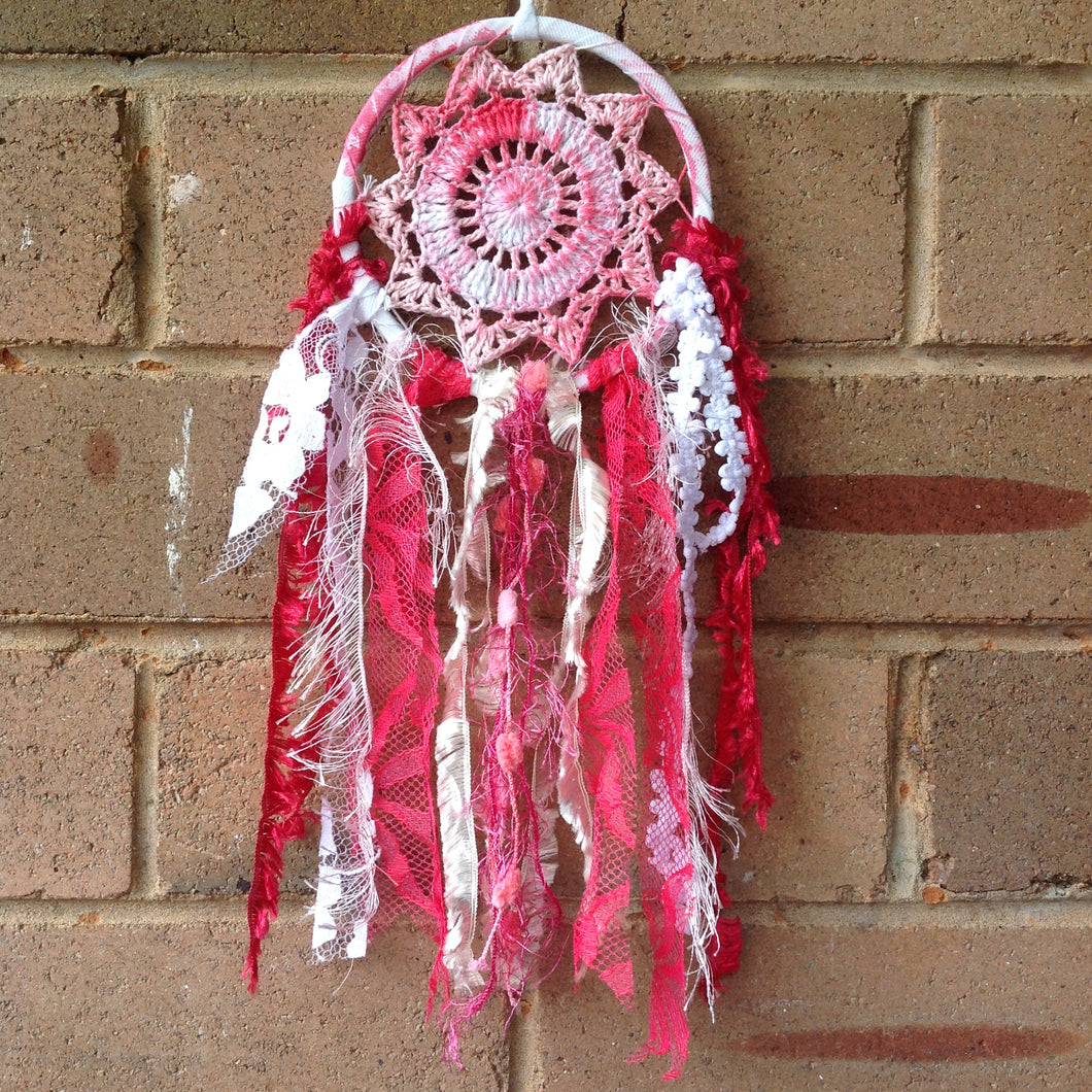 Dreamcatcher Boho Crochet Pink and Red Hand Dyed 11cm