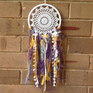 Dreamcatcher Boho Crochet Mustard and Purple 16cm