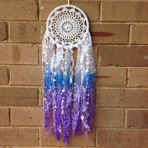 Dreamcatcher Boho Crochet Purple and Blue Hand Dyed 16cm