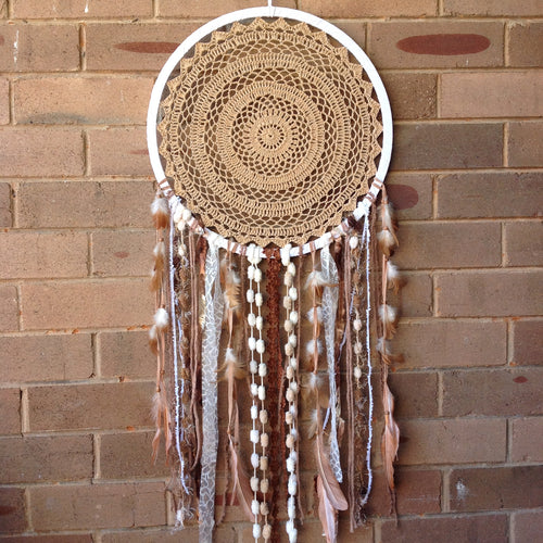 Dreamcatcher Crochet Boho Handmade Brown 42cm